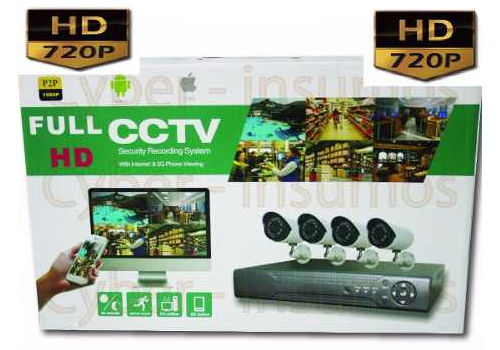 Cyber - Insumos Kit seguridad Dvr 4 Hd 720p 1mp 4 cámaras Ir Hdmi