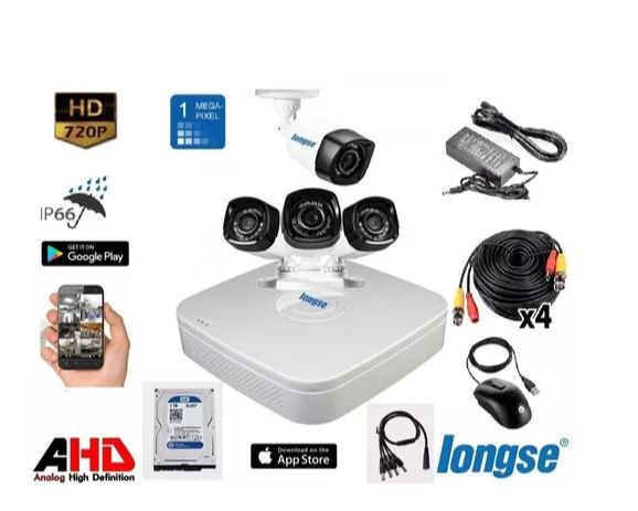 Captura kit 4 cámaras de seguridad hd p2p lente 2.8mm más disco 1tb